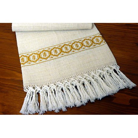 Towel with yellow greek and fringe