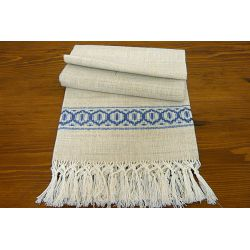 Towel with blue greek and fringe