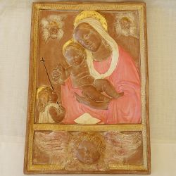 Madonna with child and head of angel with pink mantle