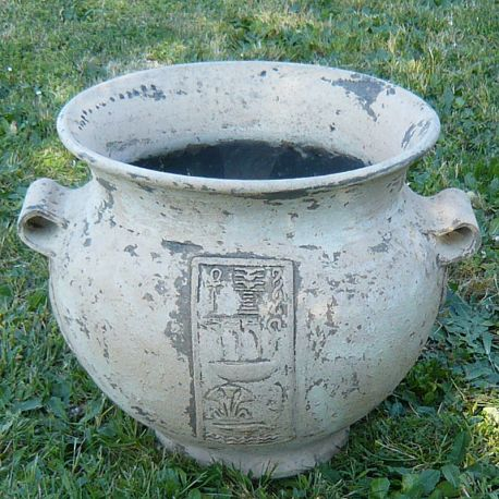 Cache-pot in old styled terracotta