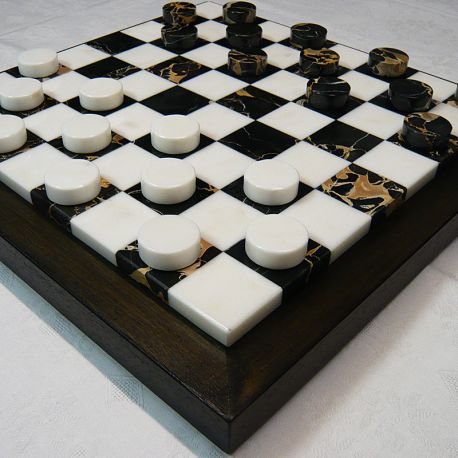 "Checkers' pawns ""White-Gold marble"""